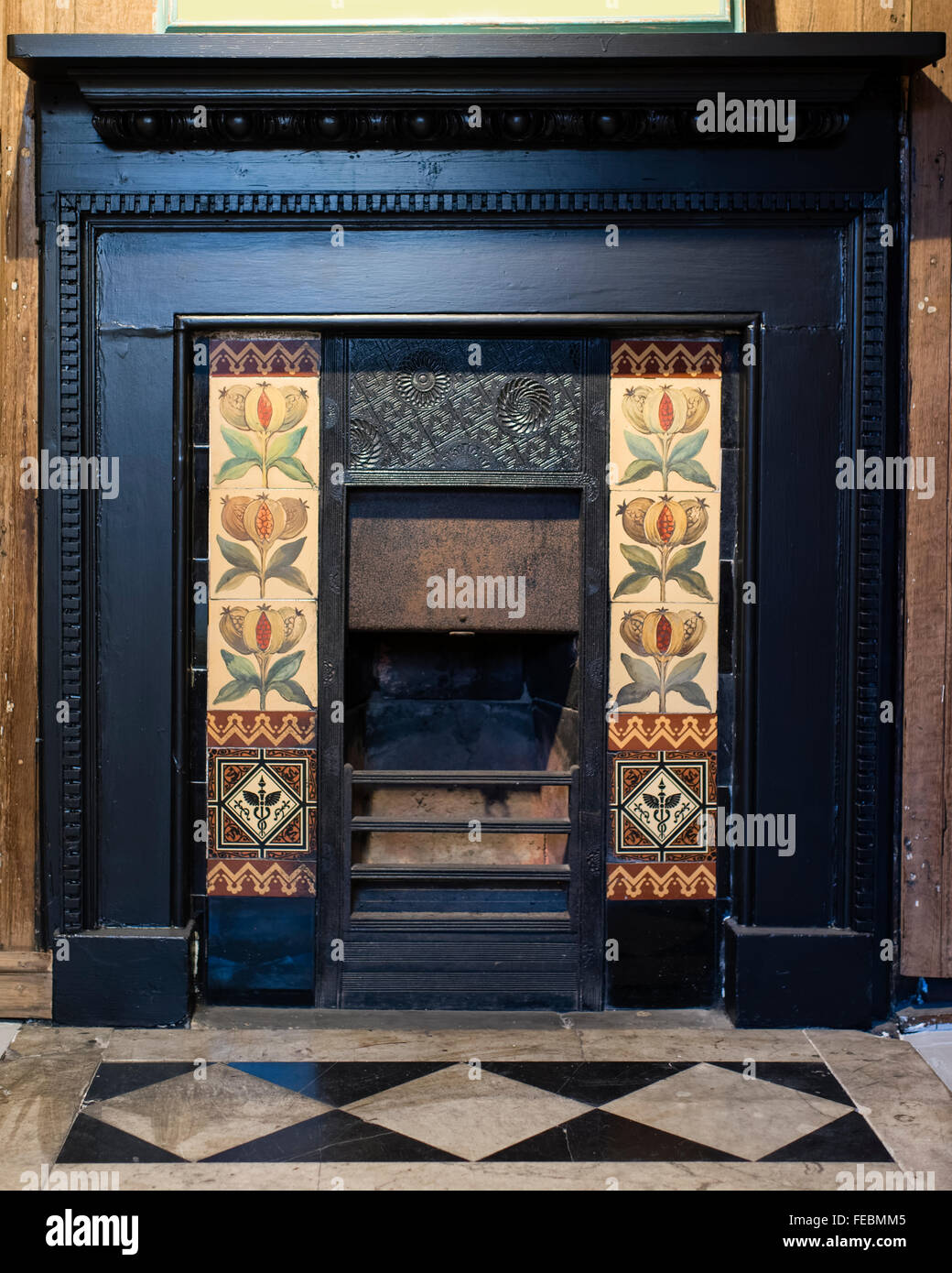 A late Victorian fire-place in the former home of John Ward Knowles (artist), York, England, UK - Stock Image