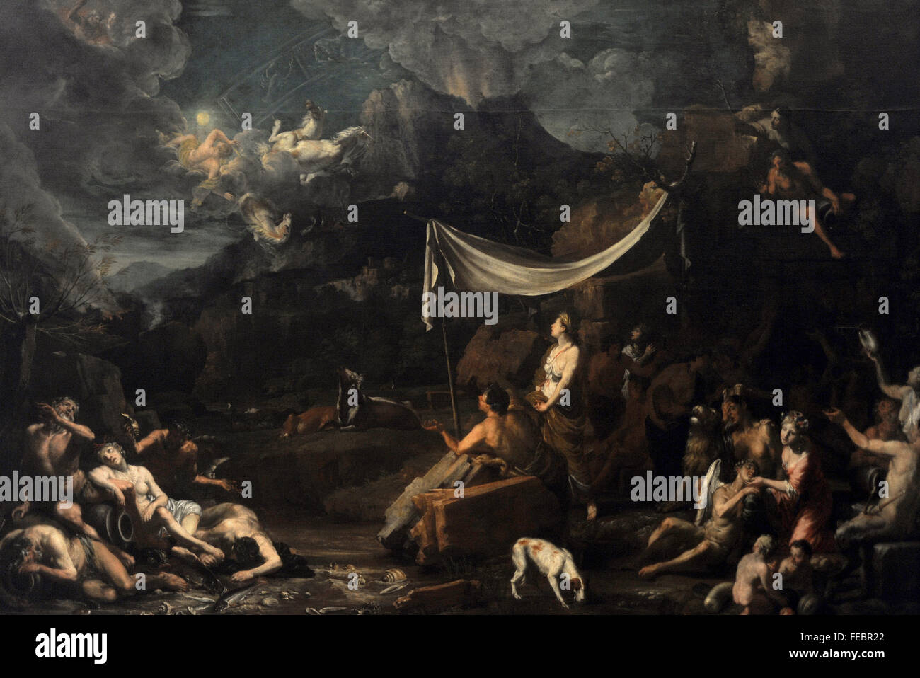 Johann Heiss (1640-1704). German painter. Phaethon's Fall, 1678. National Gallery. Prague. Czech Republic. Stock Photo