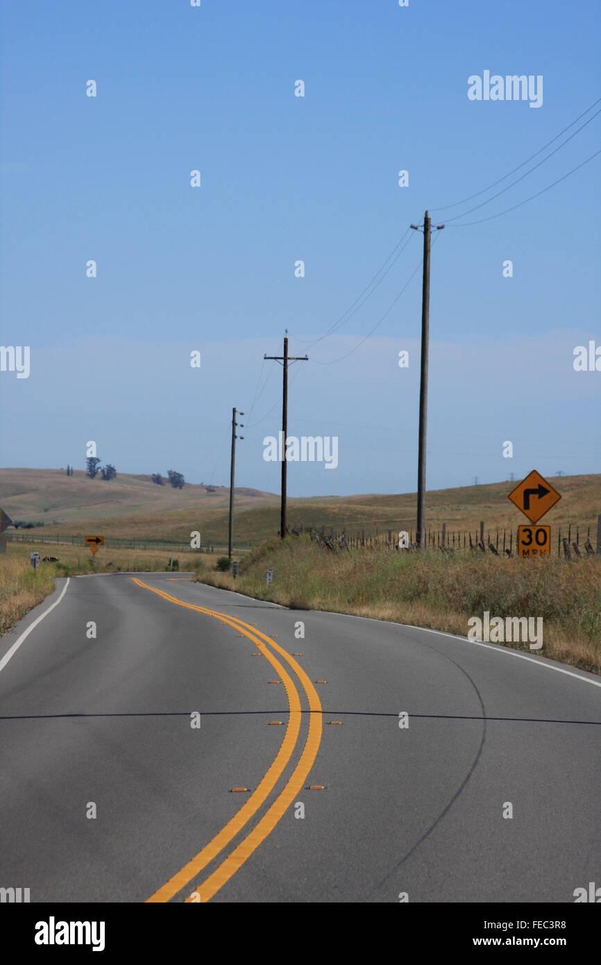 Empty highway leading to Bodega Bay, California, USA - Stock Image