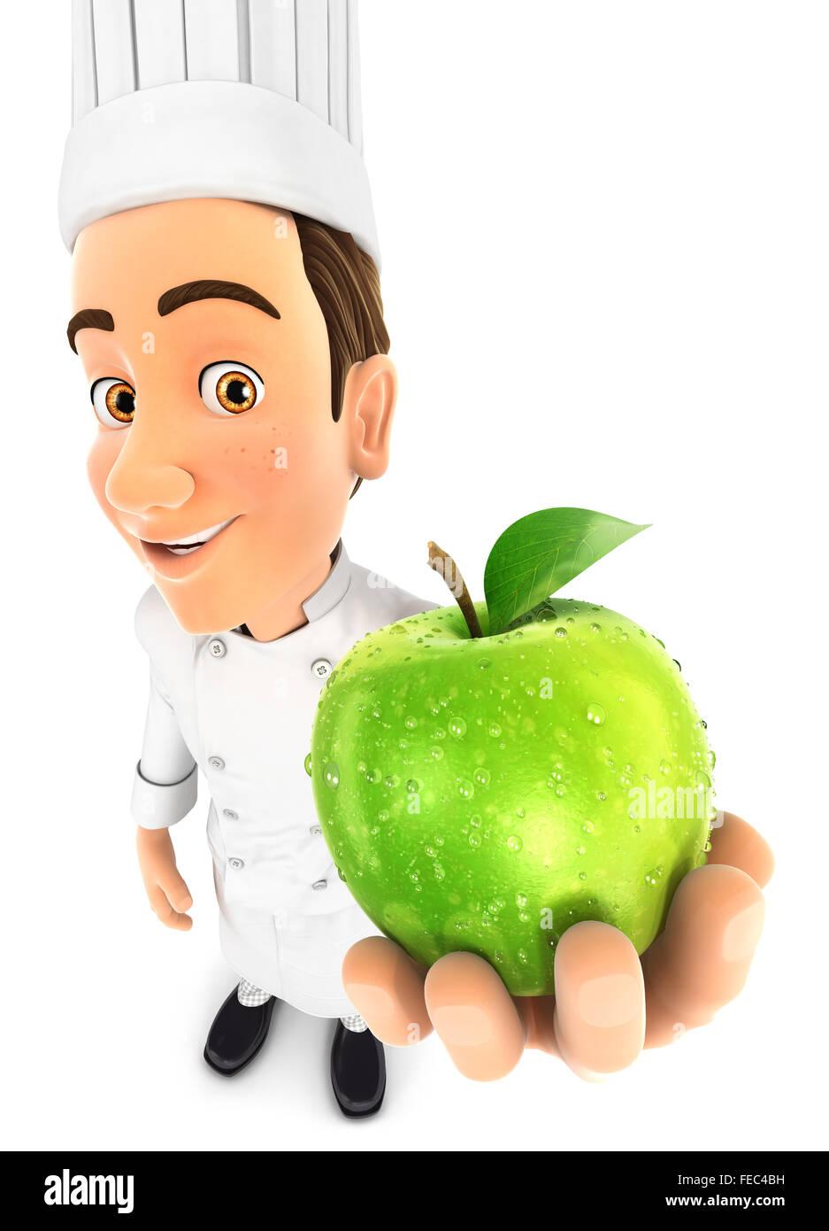 3d head holding fresh apple, isolated white background Stock Photo