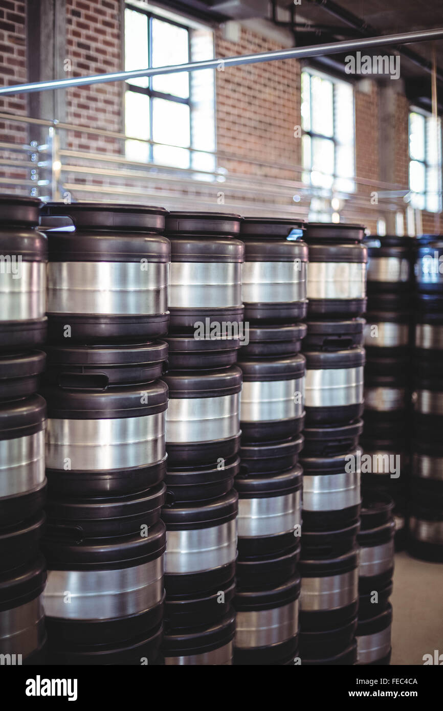 Stacks of beer barrels - Stock Image