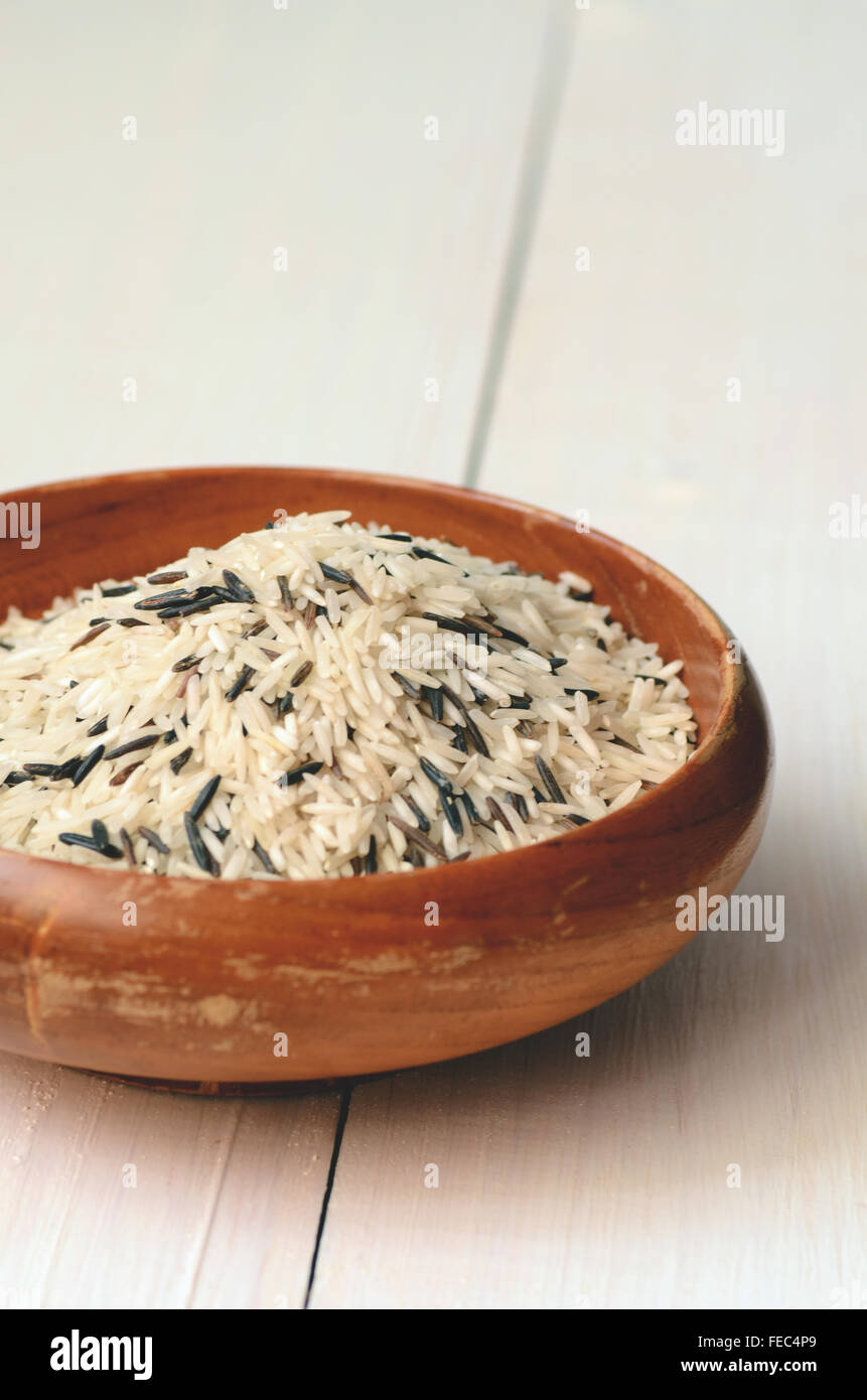 Uncooked Rice (Basmati mixed with wild Rice) - Stock Image