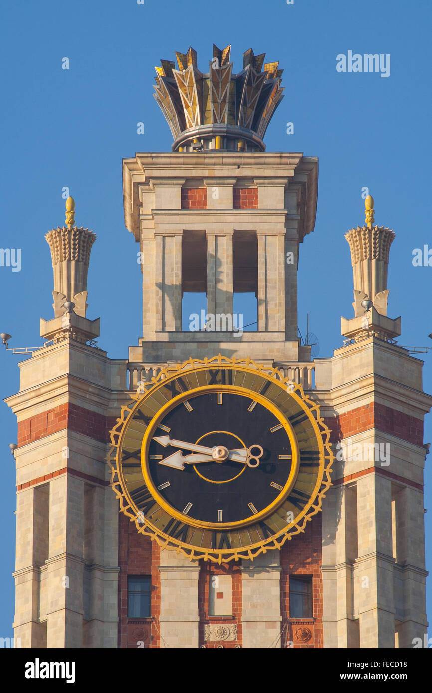 Clock at Moscow State University, one of Stalin's Seven Sisters Moscow, Russia Stock Photo