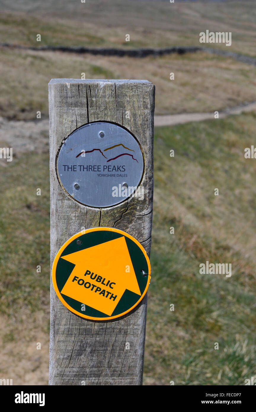 Wooden Signpost on the 3 Peaks of Yorkshire Challenge Walk - Stock Image