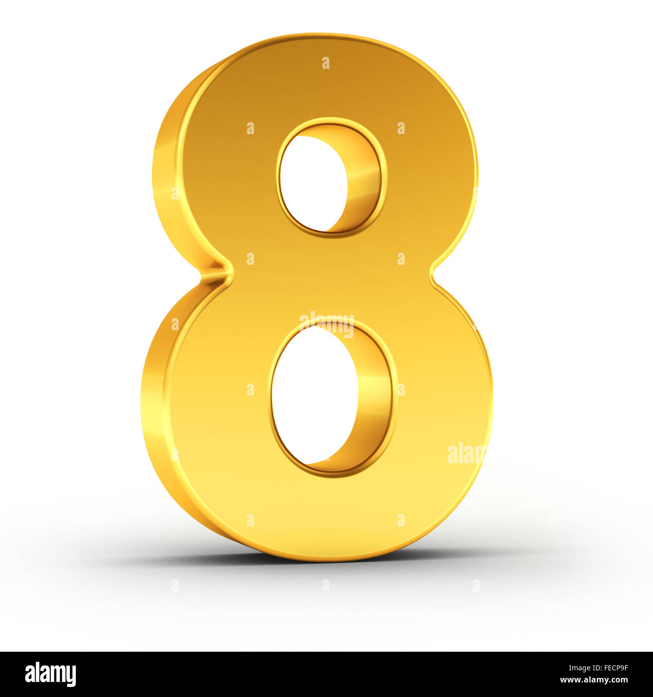 The number eight as a polished golden object - Stock Image
