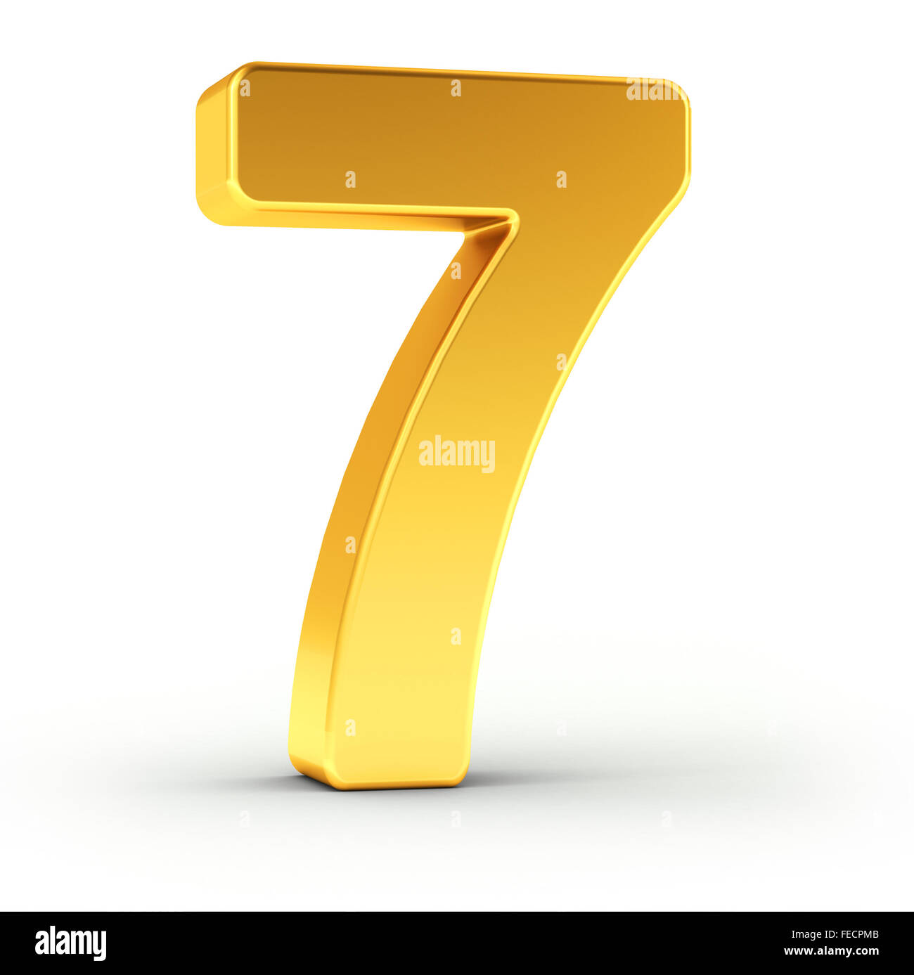 The number seven as a polished golden object - Stock Image