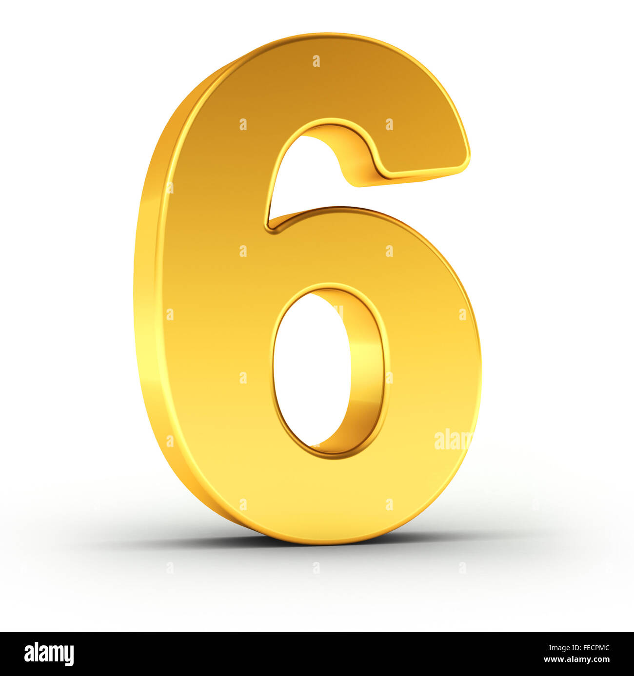 The number six as a polished golden object - Stock Image