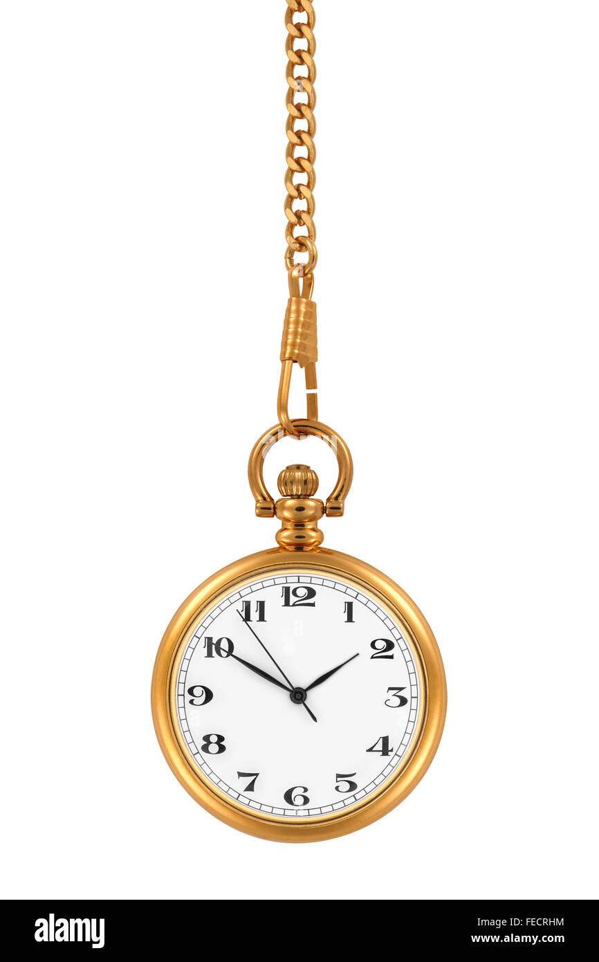 Gold pocket watch and chain, isolated on the white background, clipping path included. - Stock Image