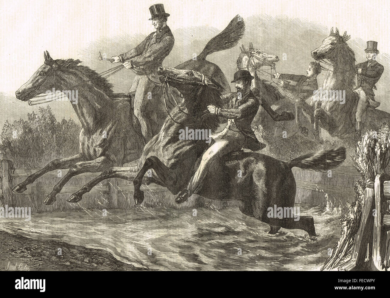 Fence and Water jump, The Horse Show, 1869 - Stock Image