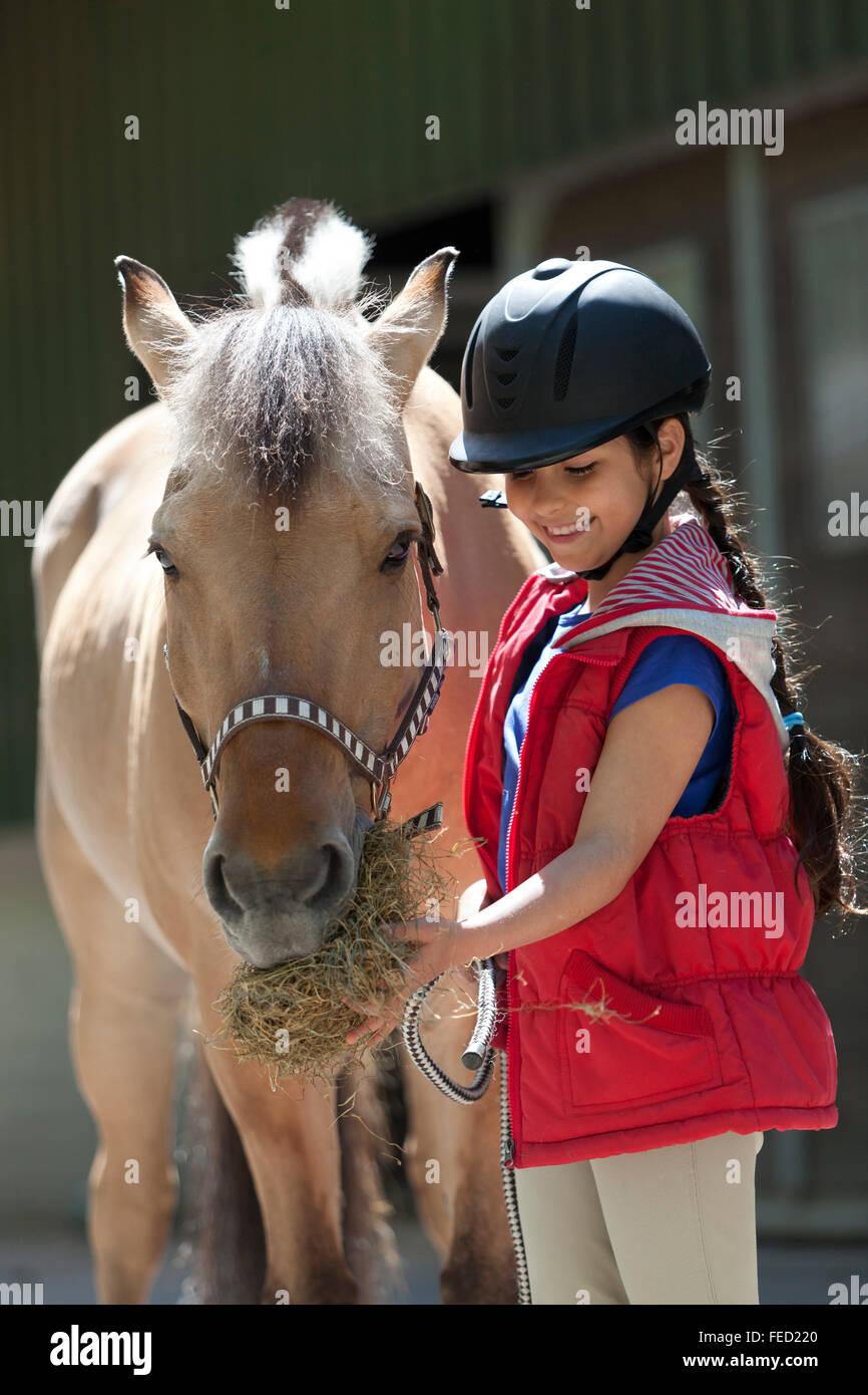 Little girl feeding her favorite horse a handfull of hay - Stock Image