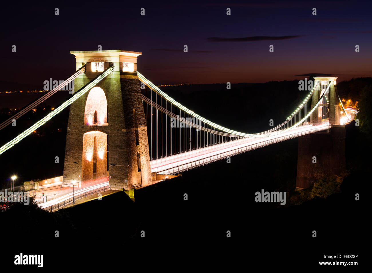 Clifton Suspension Bridge, spanning the Avon Gorge and the River Avon, Bristol, UK - Stock Image