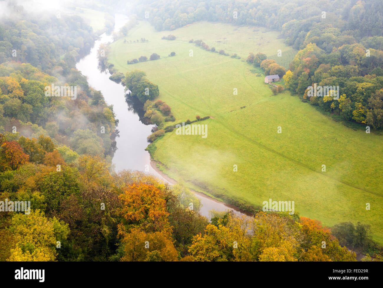 The view towards Ross-on-Wye from Symonds Yat Rock, a popular tourist destination in the Forest of Dean, Gloucestershire, - Stock Image