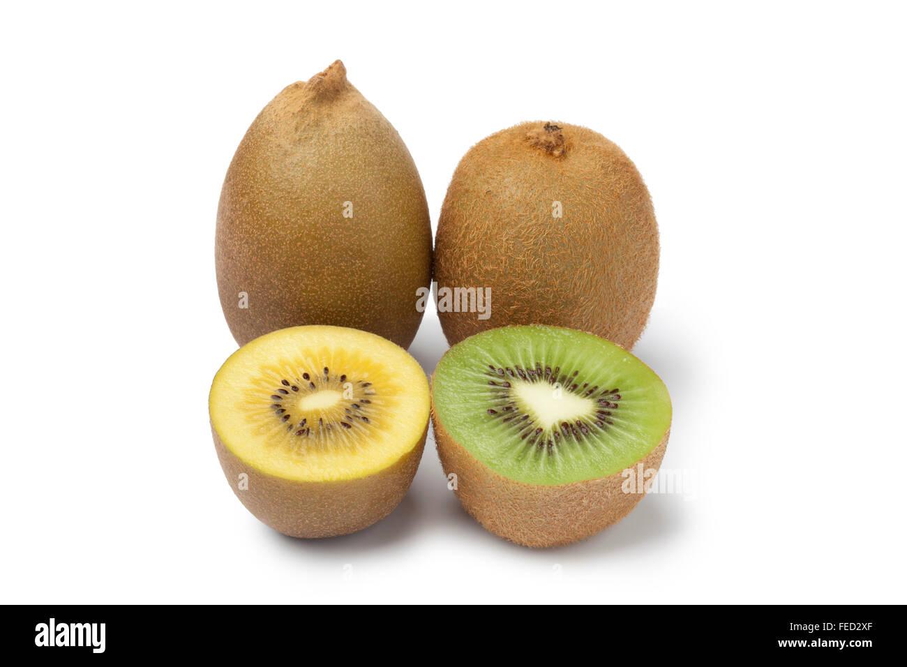 Fresh yellow and green kiwi fruit on white background - Stock Image