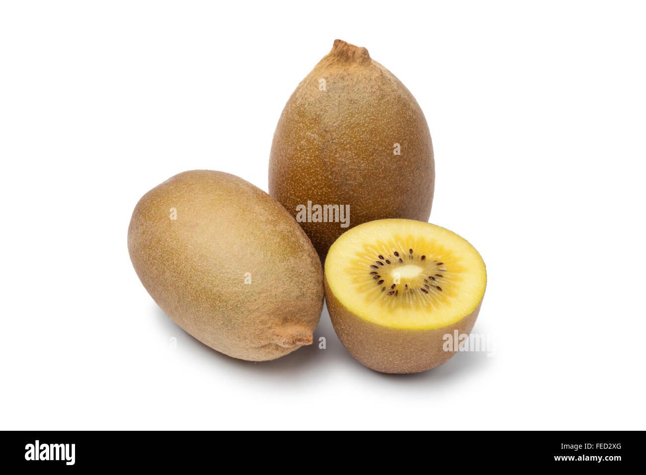 Fresh yellow kiwi fruit on white background - Stock Image