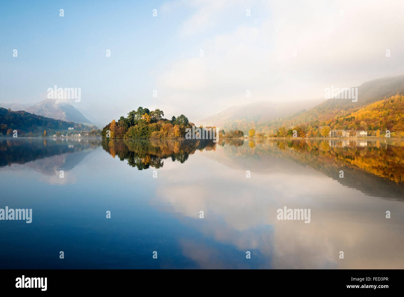 Grasmere reflections, Cumbria, UK - Stock Image