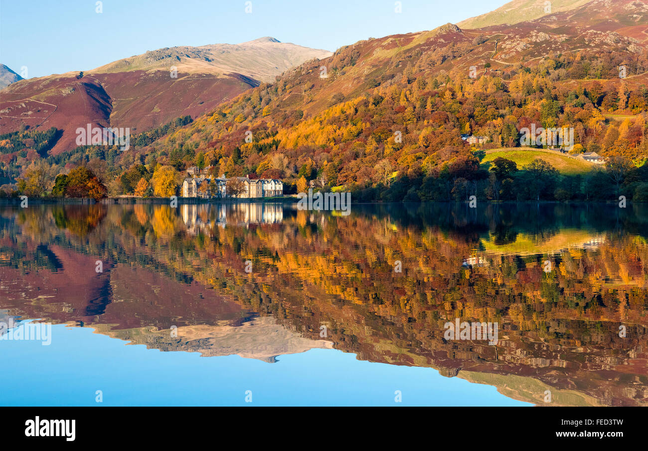 Lake Grasmere in autumn, Cumbria, UK - Stock Image