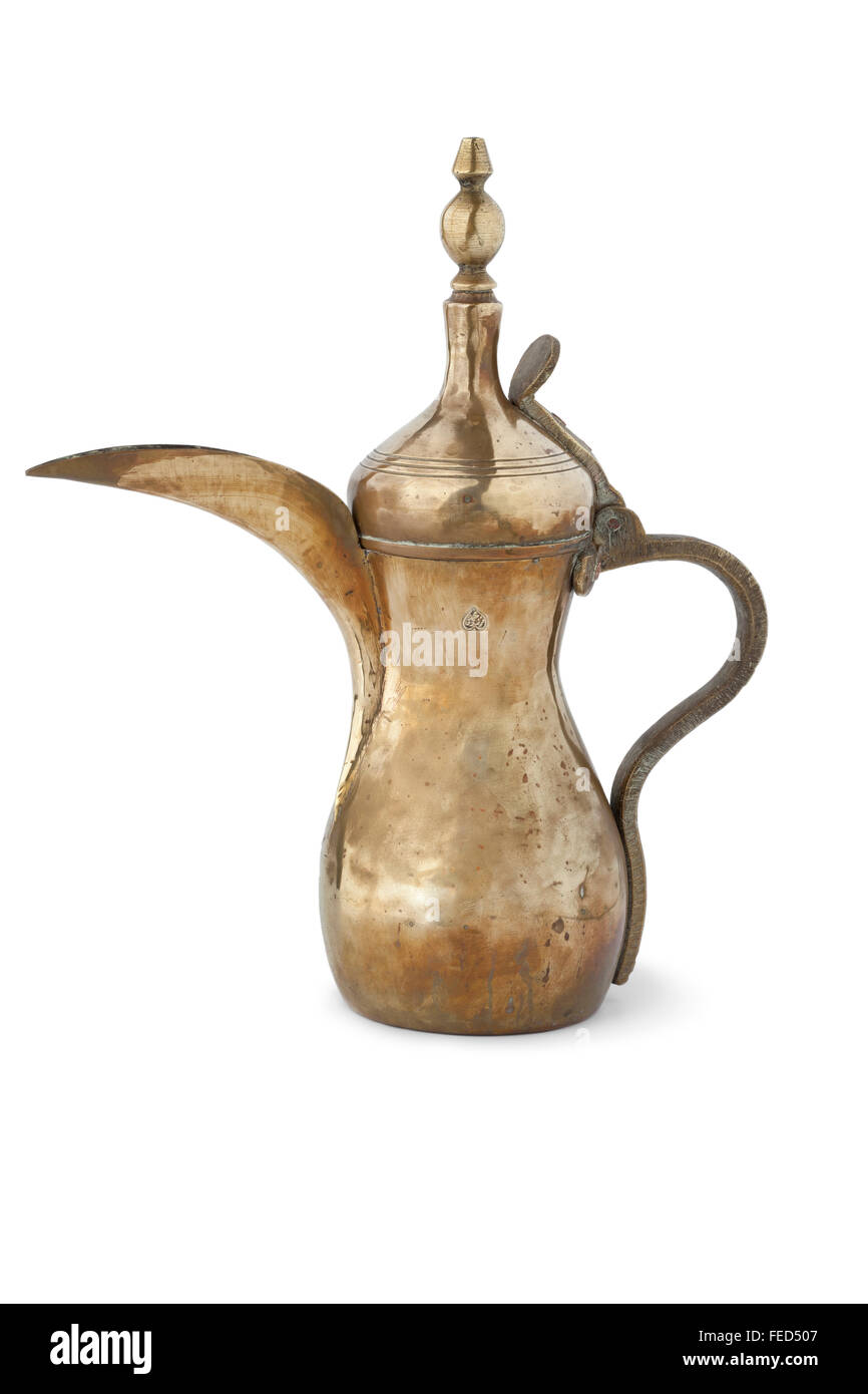 Traditional antique Arabic coffee can on white background - Stock Image