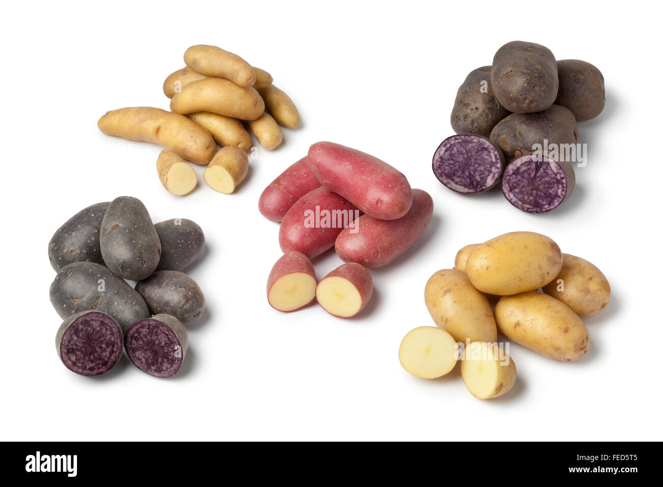 Variety of heirloom gourmet potatoes on white background Stock Photo