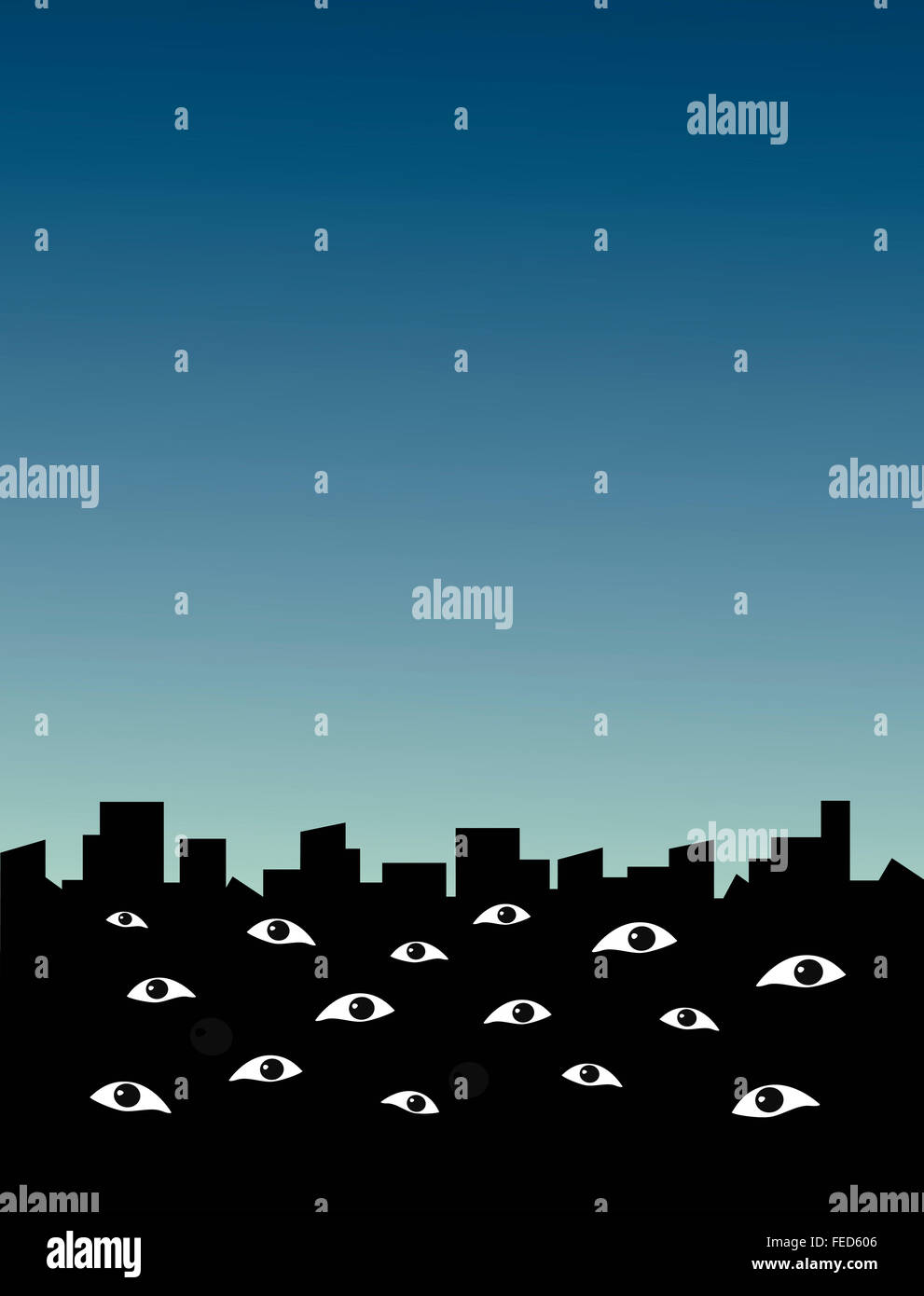 Silhouette of a city where eyes monitoring the viewer. Cityscape of surveillance. - Stock Image
