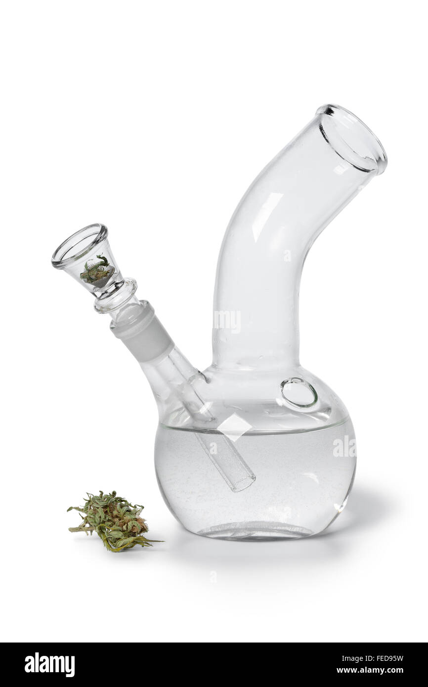 Glass Water pipe with Marijuana bud on white background - Stock Image