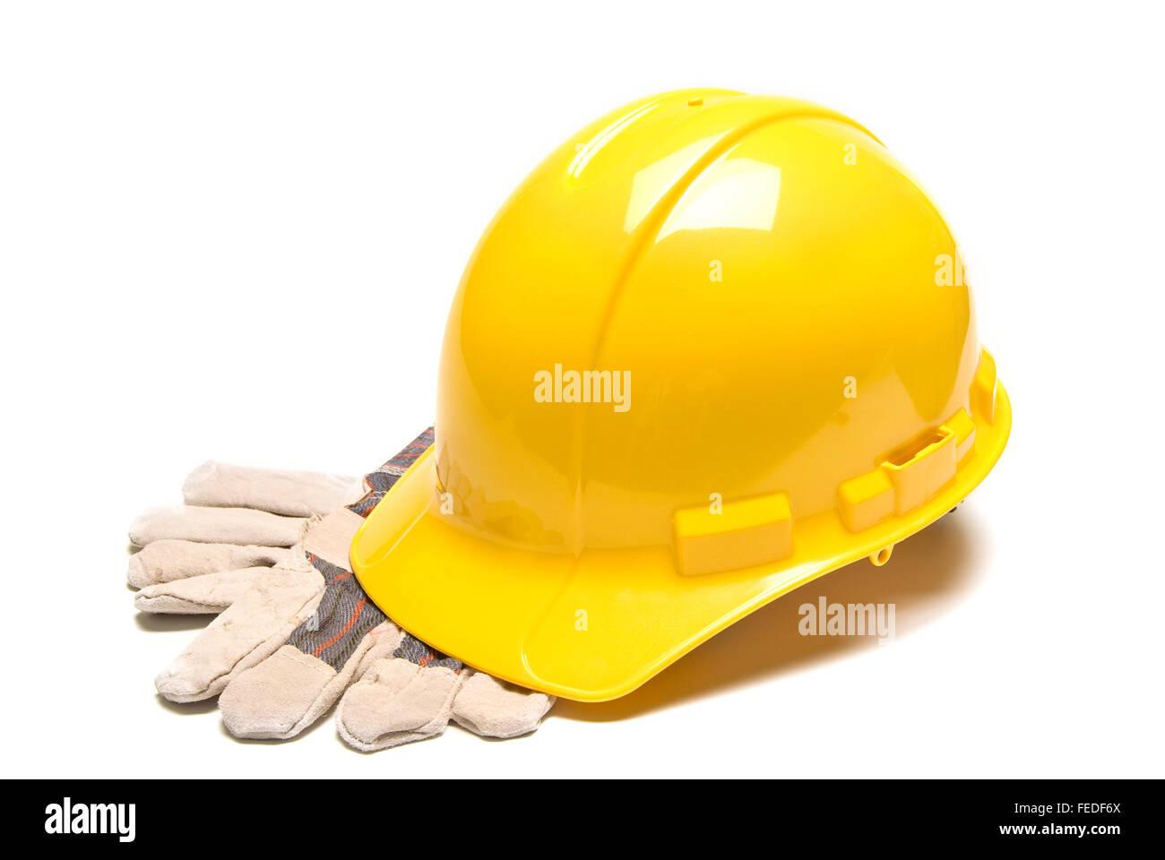 Hard Hat and Work Gloves Horizontal - Stock Image