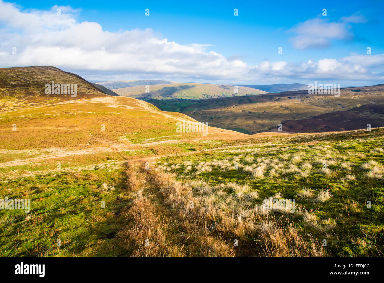 Ridge between Castle Knott and main top of Middleton Fell Cumbria looking towards the Yorkshire Dales - Stock Image