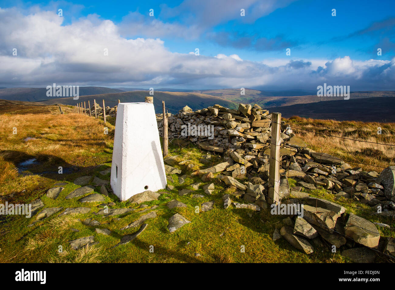 Summit of Middleton Fell Cumbria looking towards the Yorkshire Dales - Stock Image