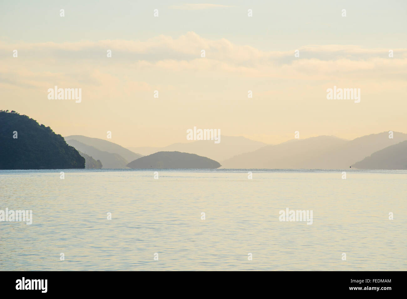 Early morning on Queen Charlotte Sound Marlborough Sounds South Island New Zealand - Stock Image