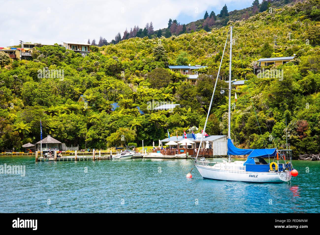 Boats at Punga Cove Endeavour Inlet Marlborough Sounds New Zealand - Stock Image