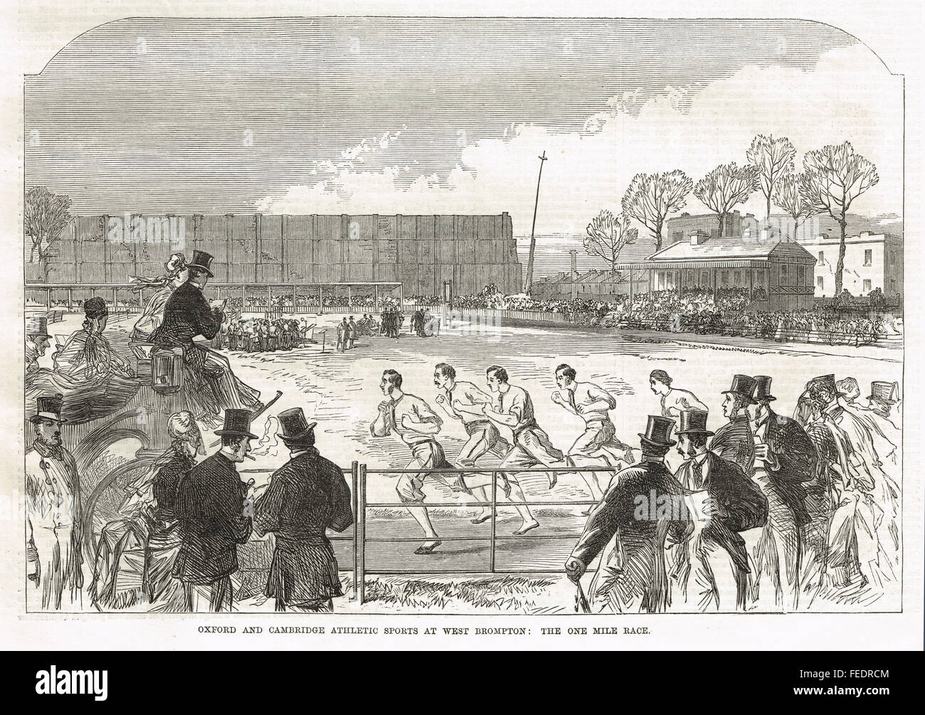 Oxford V Cambridge one mile race, West Brompton, 1869 - Stock Image