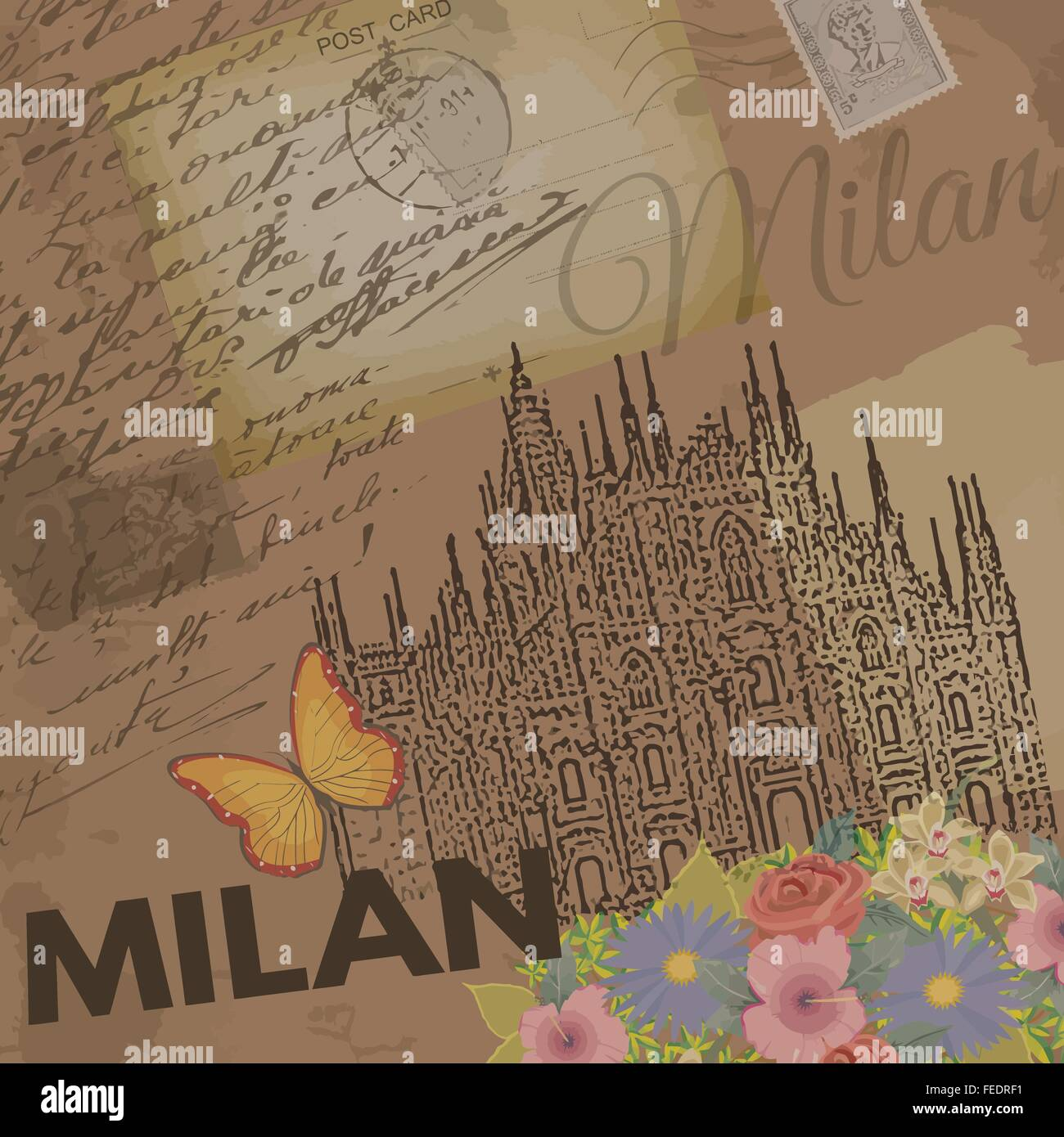Milan vintage poster on nostalgic retro background with old post cards, letters and Cathedral of Milan, vector illustration - Stock Vector