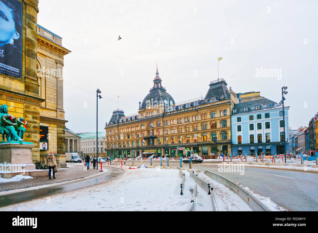 COPENHAGEN DENMARK - JANUARY 5, 2011: Street view on Magasin du Nord in winter. Magasin du Nord is a Danish chain - Stock Image