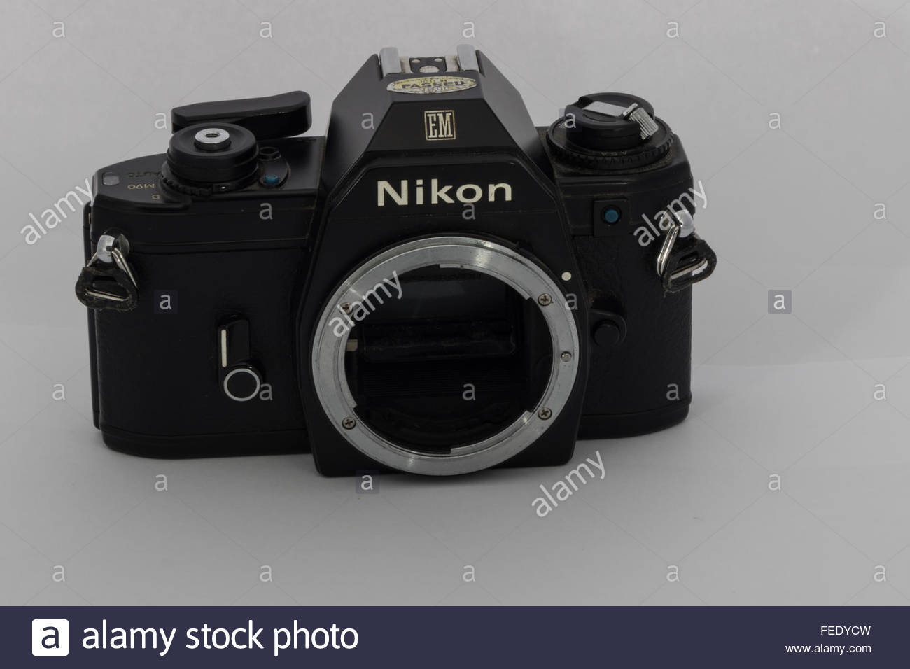 A Nikon EM 35mm SLR film SLR camera body only. An entry-level SLR made in Japan circa 1980. - Stock Image
