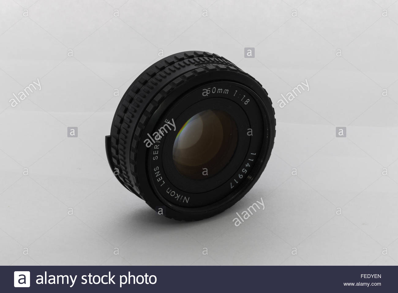 A Nikon 50mm f1.8 'E-Series' lens. Made for their entry-level Nikon EM SLR camera in Japan circa 1980. - Stock Image