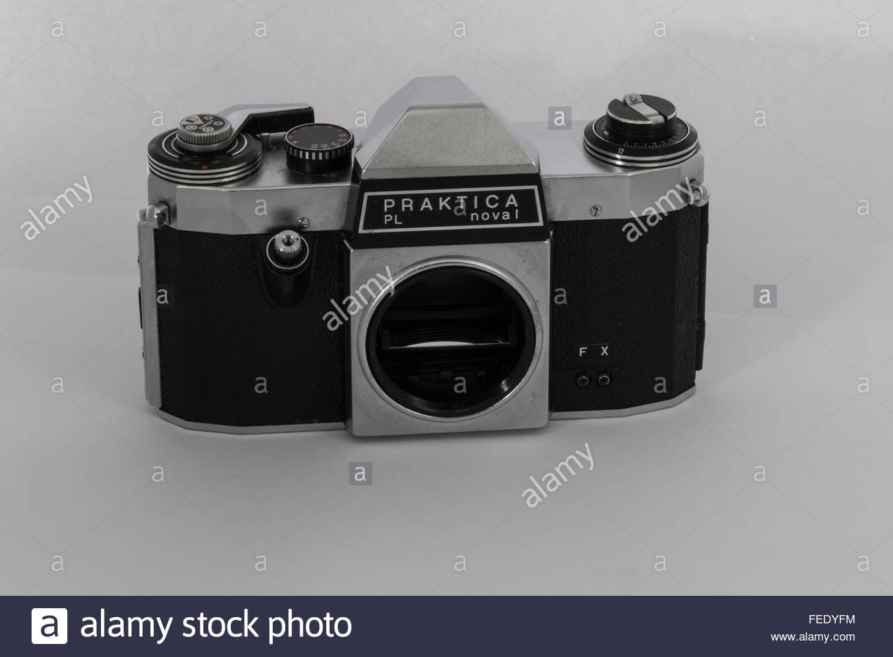 A Praktica Nova 1 a 35mm SLR film camera body only. A 1970's entry-level SLR made in East Germany. Stock Photo