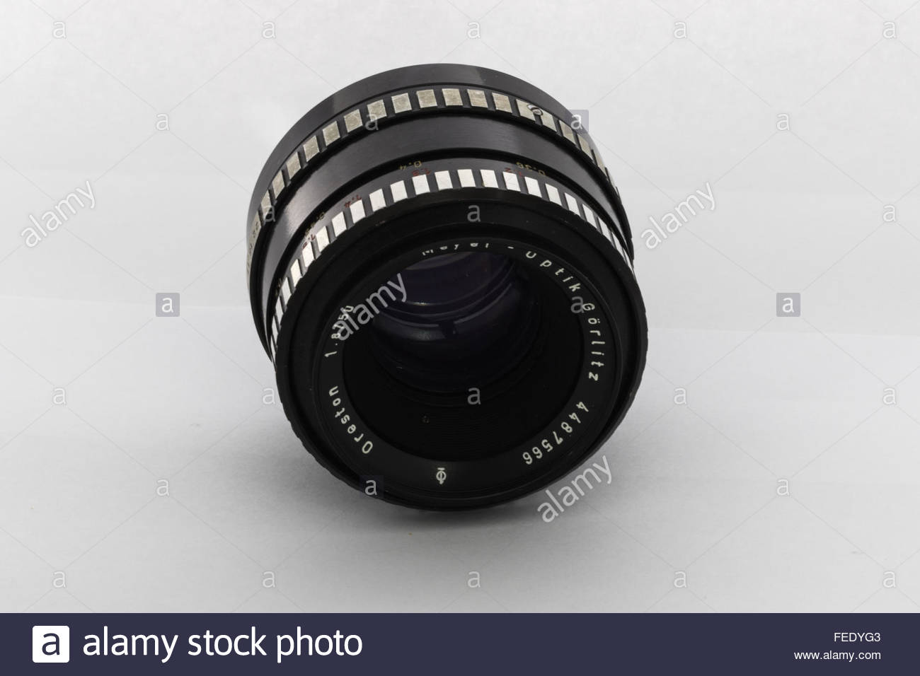A f/1.8 50mm Meyer-Optik Oreston 35mm film camera lens.Made in the1970's in East Germany. - Stock Image
