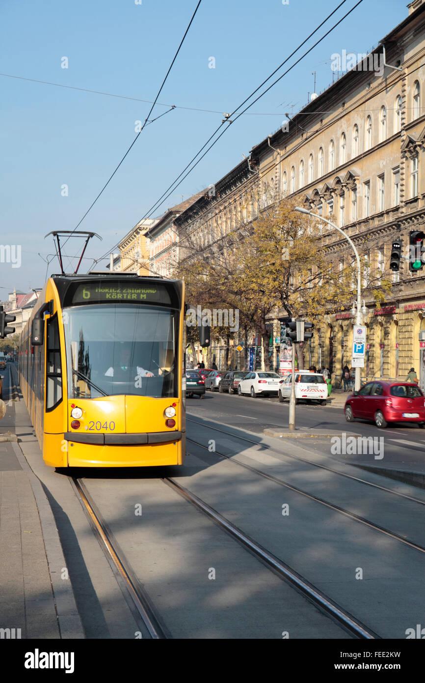 Tram in Budapest, Hungary Stock Photo