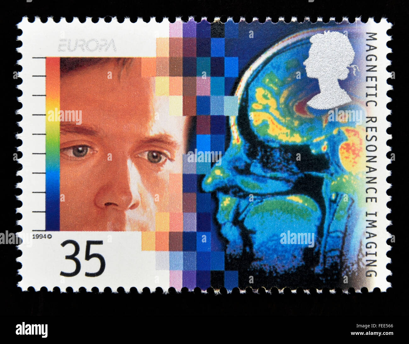 Postage stamp. Great Britain. Queen Elizabeth II. 1994. Europa. Medical Discoveries. Magnetic Resonance Imaging. - Stock Image