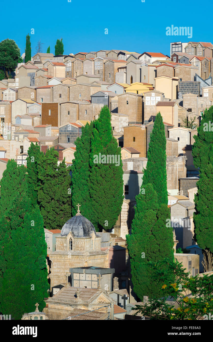 Full cemetery, view of a crowded hillside cemetery on the outskirts of Enna in central Sicily - Stock Image