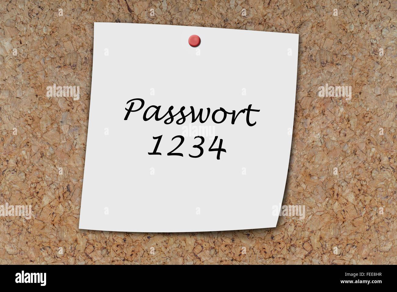 Passwort 1234 (German Password) written on a memo pinned on a cork board - Stock Image