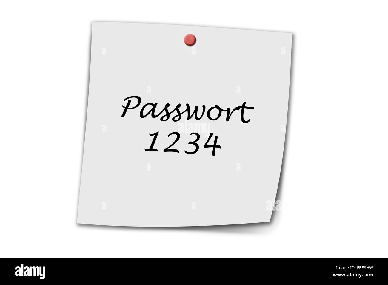Passwort 1234 (German Password) written on a memo isolated on white - Stock Image