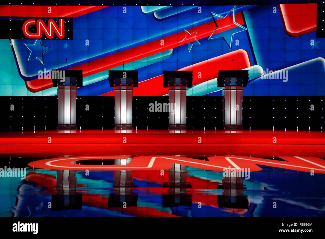 LAS VEGAS, NV, Dec 15, 2015, Empty Podiums at the CNN Republican presidential debate at The Venetian Resort and - Stock Image