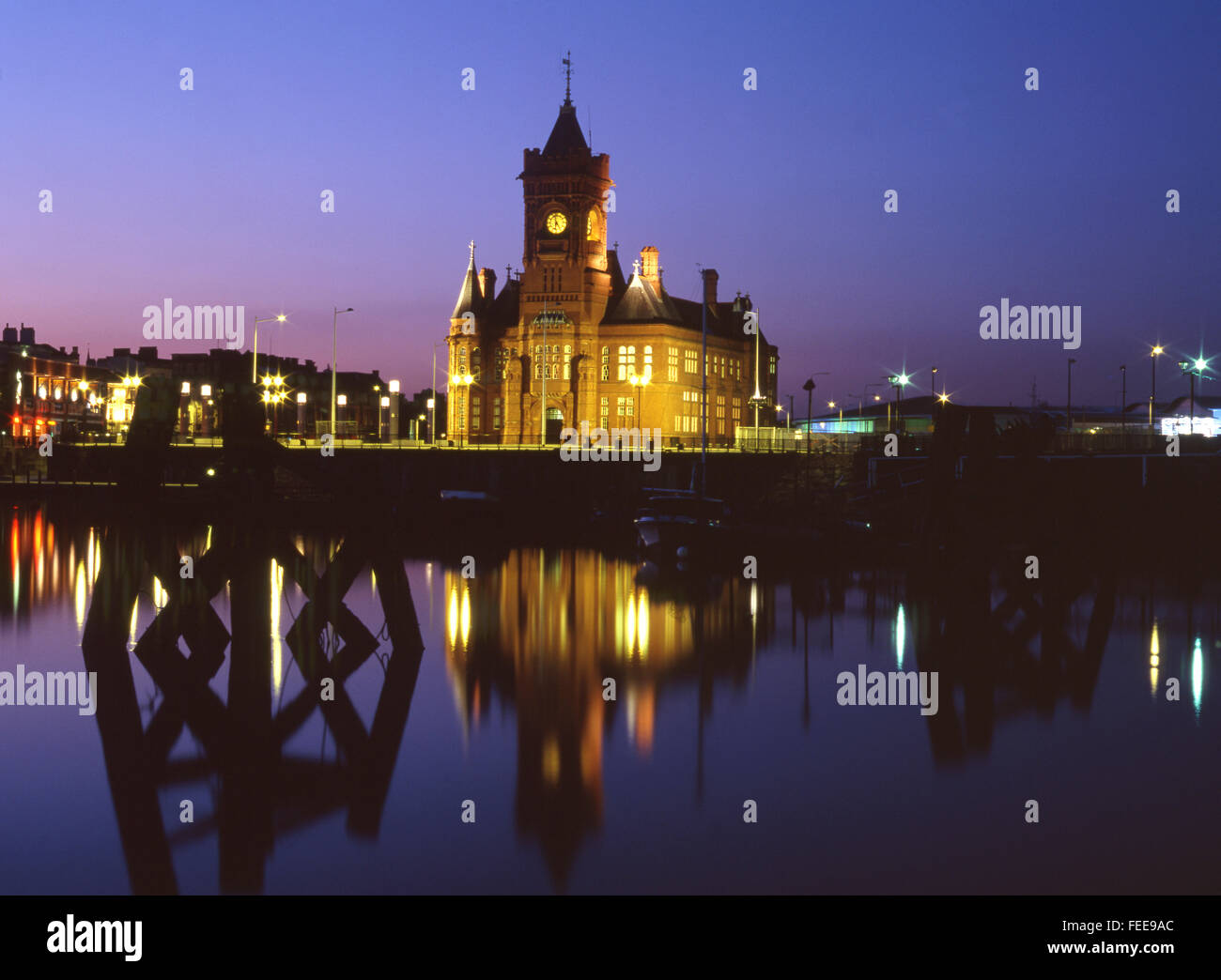 Bay skyline at night twilight dusk in 2001 before Millennium Centre and Senedd were built Cardiff Wales UK - Stock Image