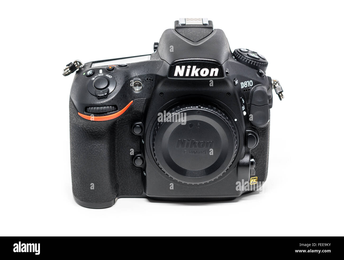 OSTFILDERN, GERMANY - JANUARY 24, 2016: A Nikon D810 camera body without lens, the first digital SLR camera in Nikon's - Stock Image