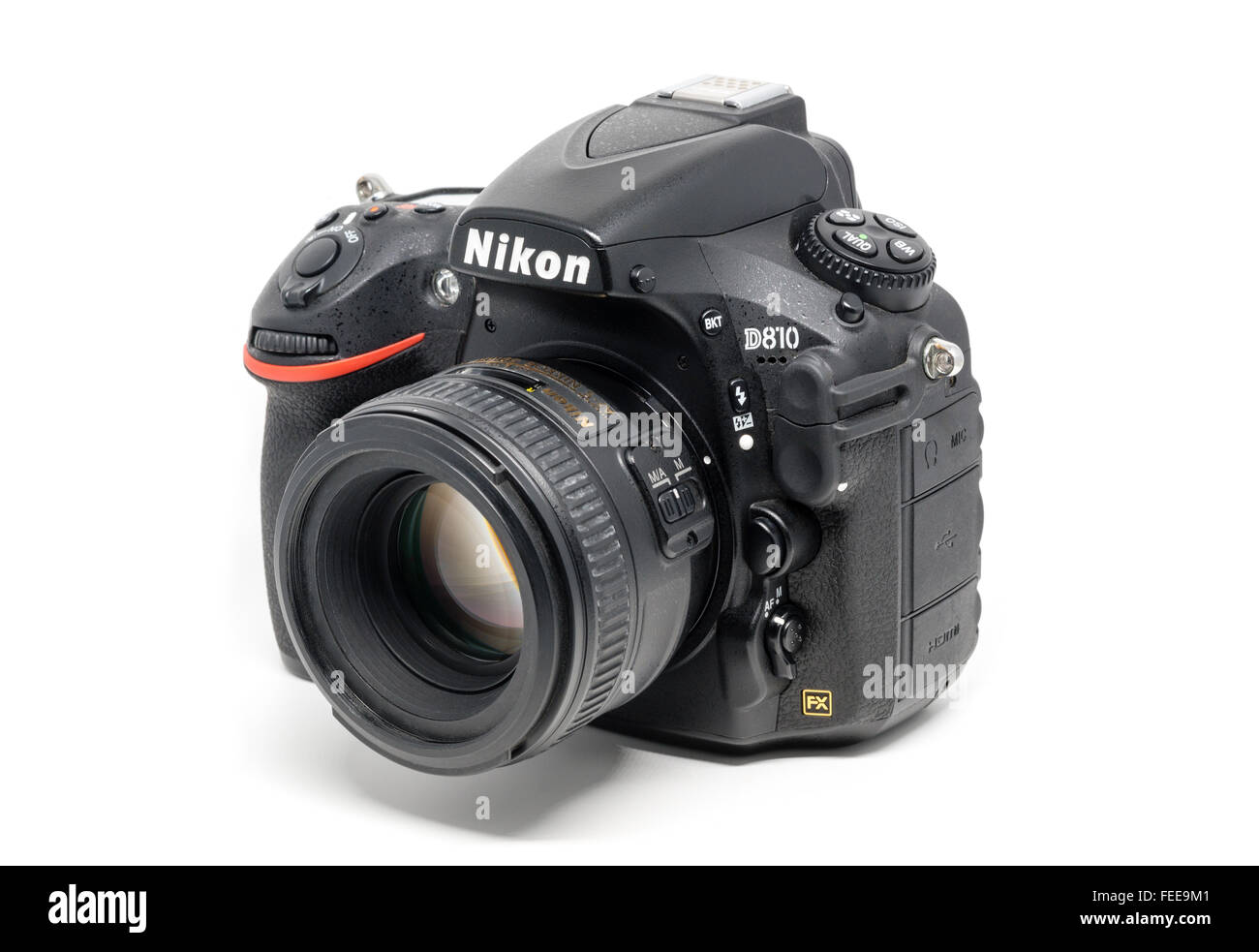 Ostfildern, Germany - January 24, 2016: A Nikon D810 camera body with Nikkor 50mm 1:1,4 lens, the first digital - Stock Image