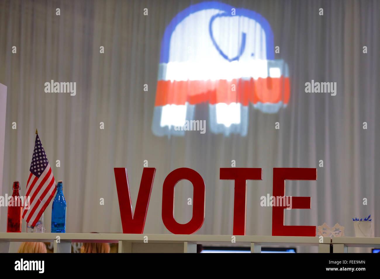 LAS VEGAS, NV - DEC, 15, 2015: Republican CNN presidential debate at The Venetian Casino shows Vote Sign and Republican - Stock Image