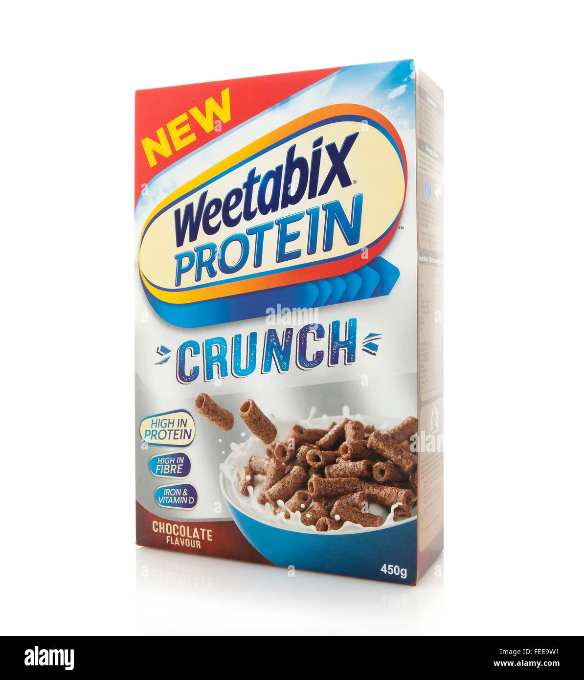 Packet of Weetabix Protein Crunch on a white background. Weetabix is produced by Weetabix Limited in the United - Stock Image