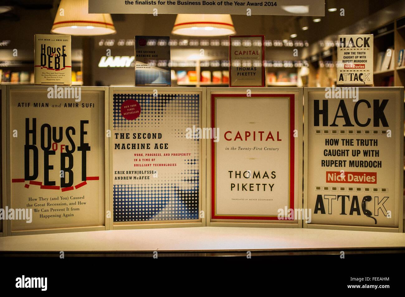 Recent book releases on politics and economics at Foyles Bookshop, London Stock Photo