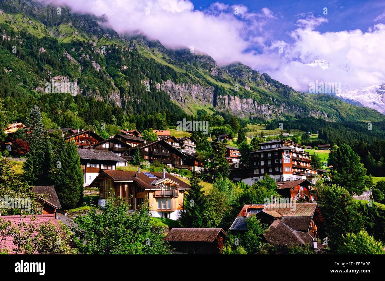 Resort Village of Wengen on the Slopes of Lauterbrunnen Valley in Bernese Oberland (Swiss Alps, Jungfrau Region, - Stock Image