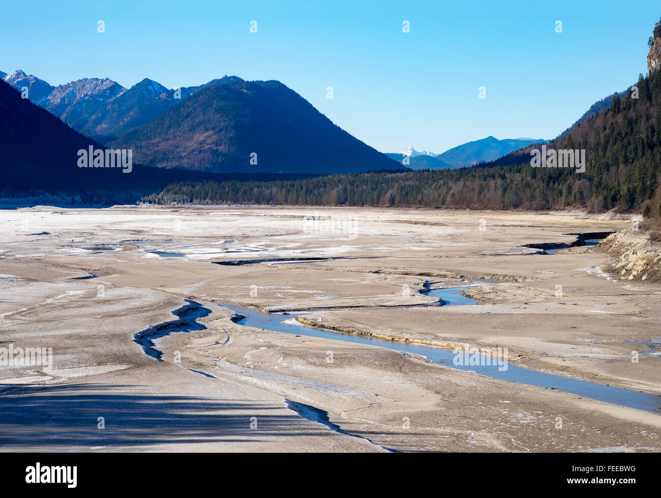 Isar river in the drained Sylvenstein Reservoir, Lenggries, Isarwinkel, Upper Bavaria, Bavaria, Germany - Stock Image